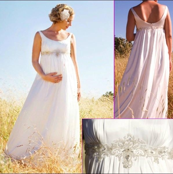 Sleeveless_Empire_Wast_A-line_Beaded_White_Maternity_Bridal_Wedding_Dress_MN03