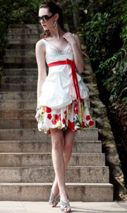Beading V-neck printing White Short A-line Cocktail / Homecoming Dress
