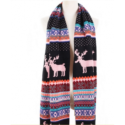 Bohemian Cute Snow Elk Pattern Print Color Block Scarves Pink