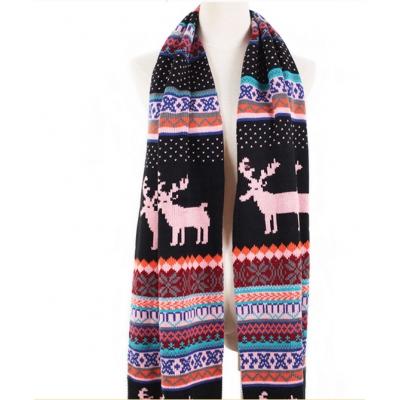 Bohemian Cute Snow Elk Pattern Print Color Block Scarves Pink