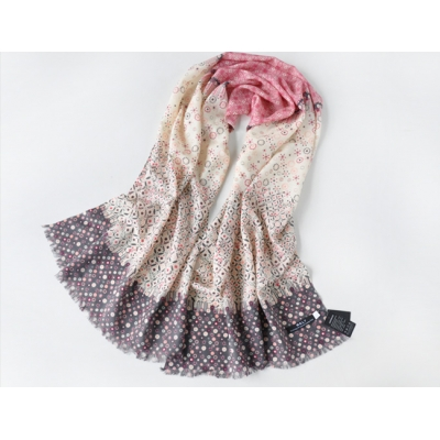 Elegant Floral Print Color Matching Thin Wool Long Scarf