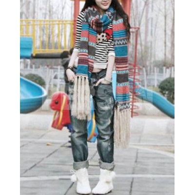Bohemian Ethnic Style Long Scarf With Fringe