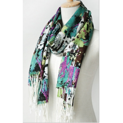 Creative Forest Tone Print Thin Wool Long Scarf