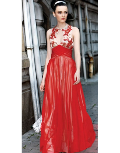 Vintage A-Line Keyhole Sleeveless Chiffon Floor Length Evening Gown