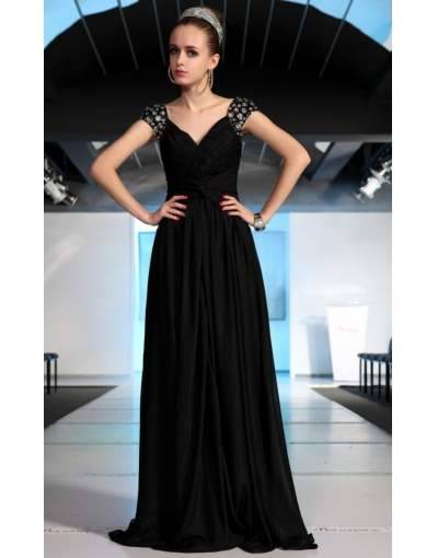 Black A-Line V-Neck Cap Sleeves Tencel Floor Length Prom/Evening Dress