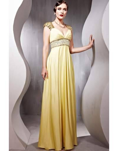 Yellow A-Line V-Neck Short Sleeves Silk Floor Length Prom/Evening Dress