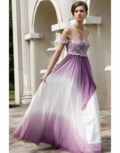 Sexy A-Line Strapless Off-Shoulder Chiffon Floor Length Evening Gown