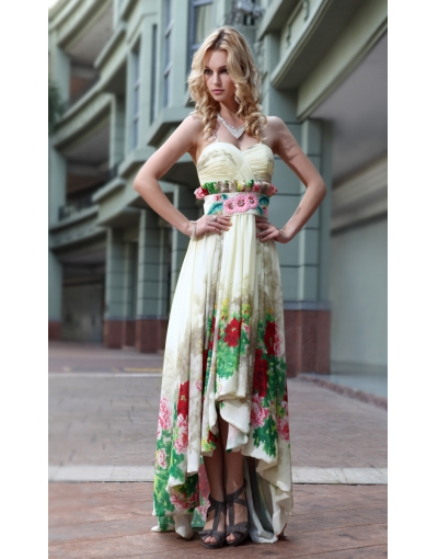 Flower Printed Sheath Spaghetti Straps Sleeveless Satin High Low Prom Dress