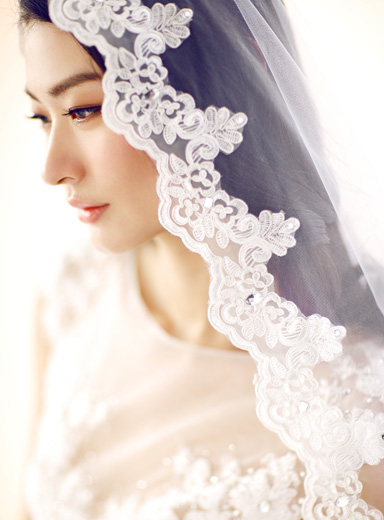 Curls hair and lace wedding veil vs Elegant Bride