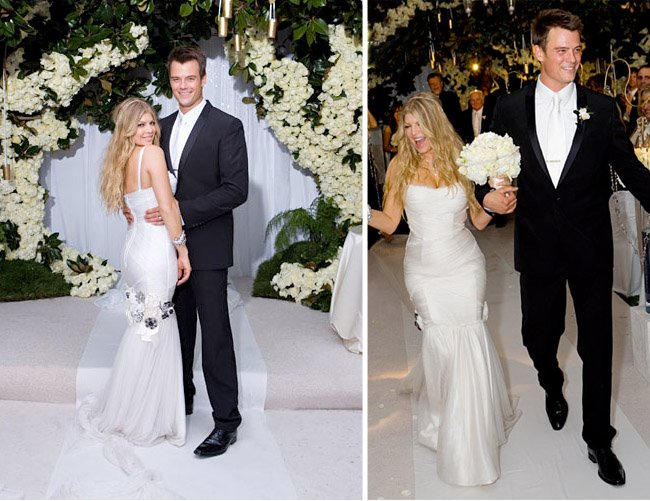 Fergie in Mermaid Wedding Dress with Spaghetti Straps
