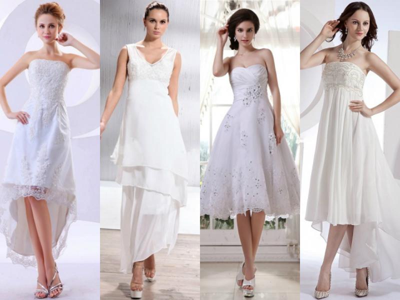 tealength wedding dresses