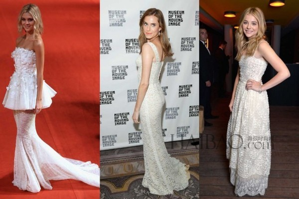 celebrities red carpet white dresses