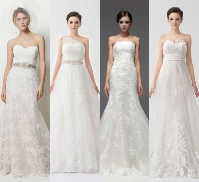 3D lace embroidery wedding dresses