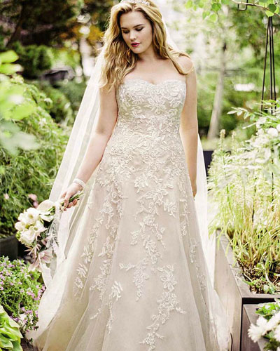 A-line strapless beading wedding dress