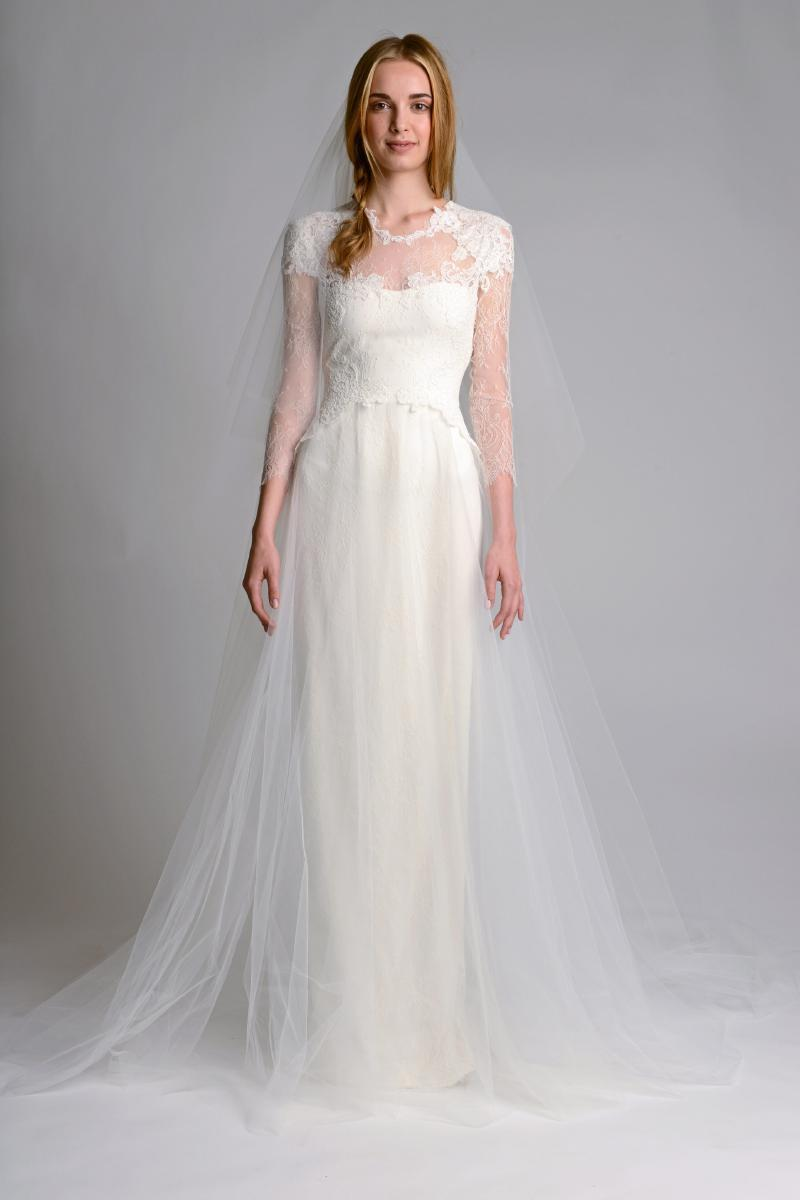 Close-fitting wedding dress with long sleeves
