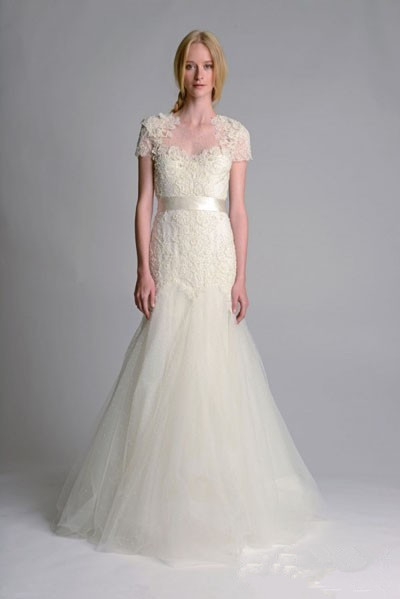 Embroidery trumpet wedding dresses