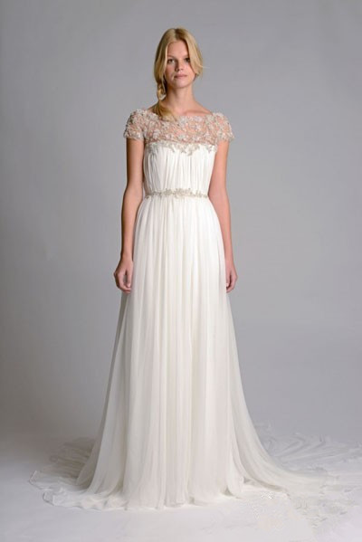 Pleated embroidered chiffon wedding dress