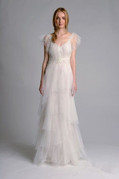 Sling layered tulle wedding dress