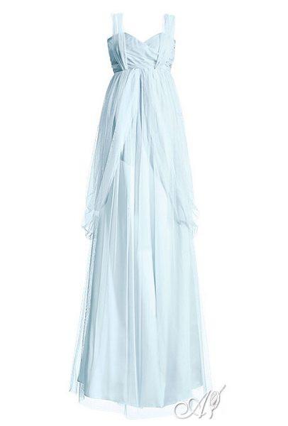 long light blue wedding dress
