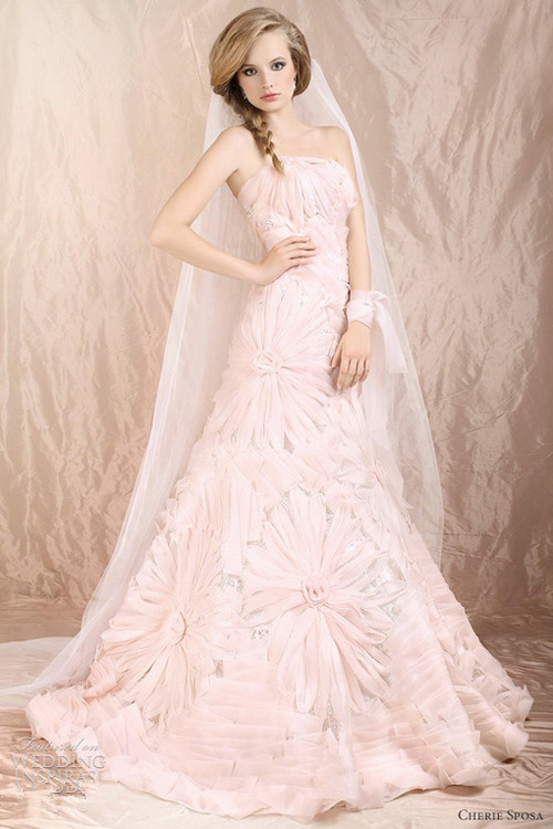 pink wedding dress with big flower