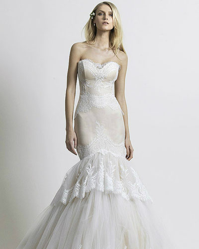 sheath mermaid strapless wedding dress