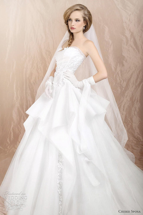 silk white ball gown A-line wedding dress