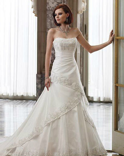 strapless beading wedding dress