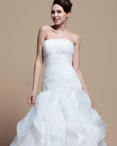 strapless fold wedding dress