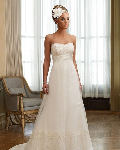 strapless wedding dress with small train