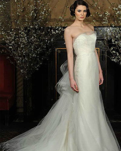tull strapless train wedding dress
