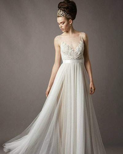 glass yarn wedding dress with transparent shoulder
