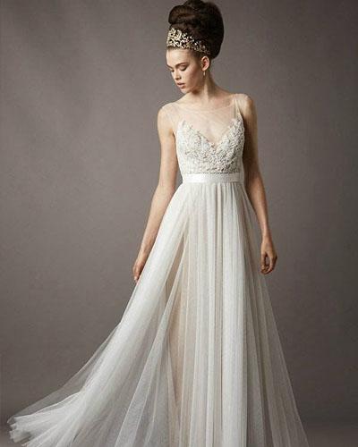glass yarn wedding dress with transparent shoulder