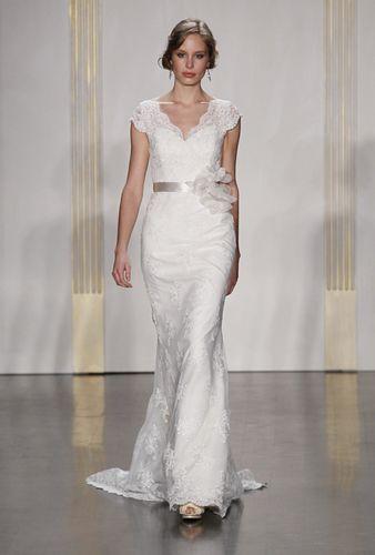 big v lace sheath wedding dress