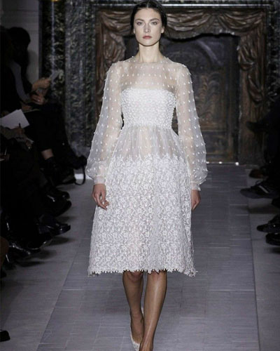 silk A-line wedding dress with long sleeves