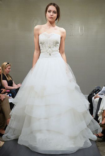 strapless layered wedding dress