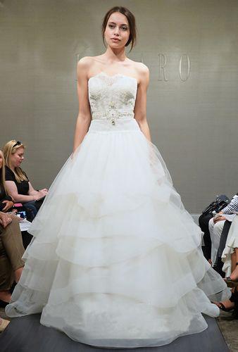 strapless layered wedding dress