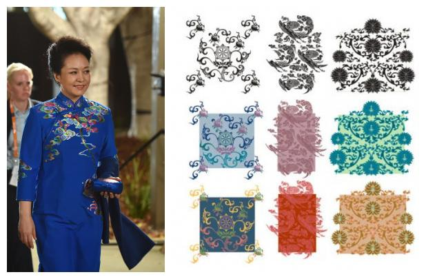 Gem blue dot on improvement of Chinese costume with Chinese elements