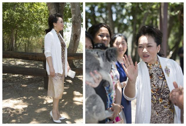 Peng liyuan wear Chinese-style frock with long white gown