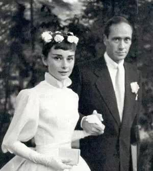 AudreyHepburn and Mel Ferrer's wedding photo