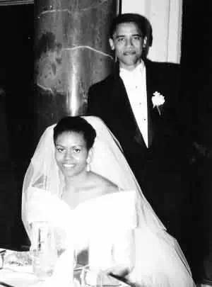 MichelleRobinson and Barack Obama's wedding photo