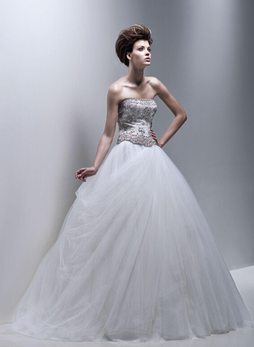 The art strapless chiffon wedding dress