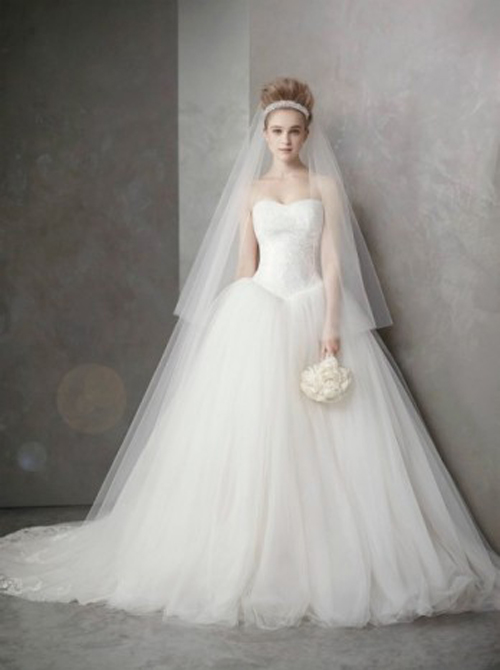 The causal princess style strapless a line wedding dress