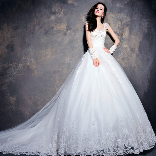 The romantic lace a line wedding dress