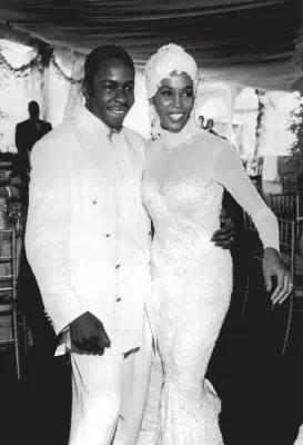 WhitneyHouston and Bobby Brown's wedding photo