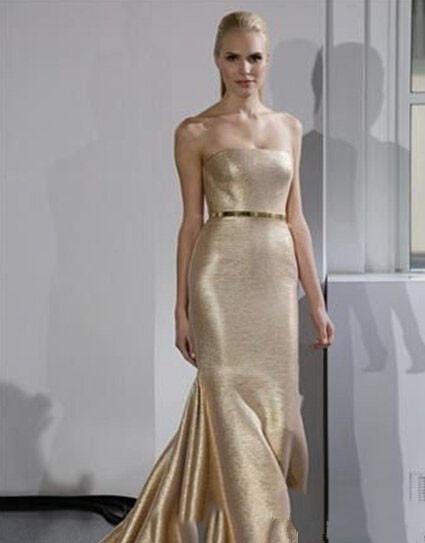 gold satin mermaid wedding dress