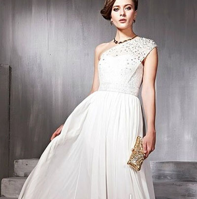 one shoulder beading wedding dress