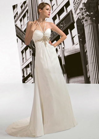 the satin halter high low wedding dress