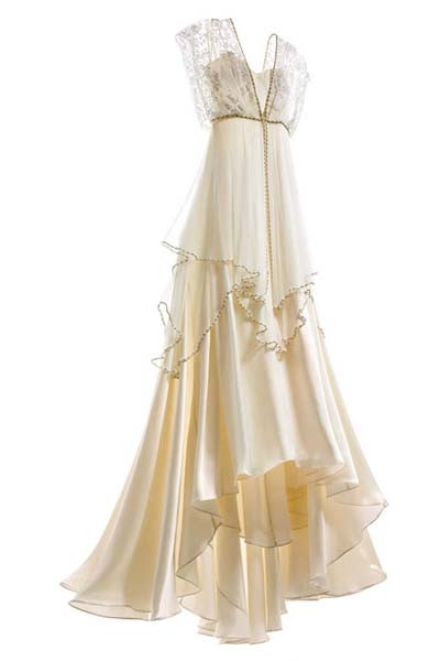 A-line beige layered wedding dress