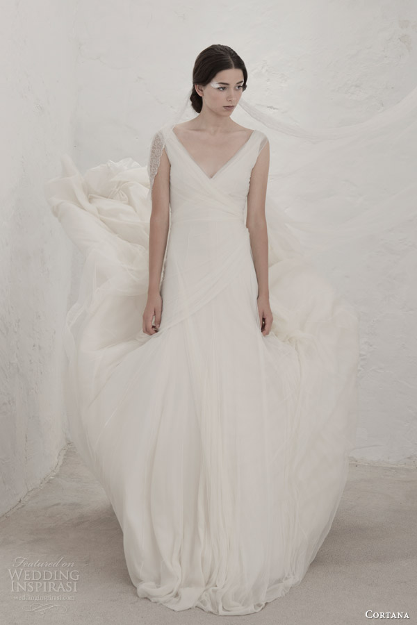 Cortana chiffon v neck wedding dress