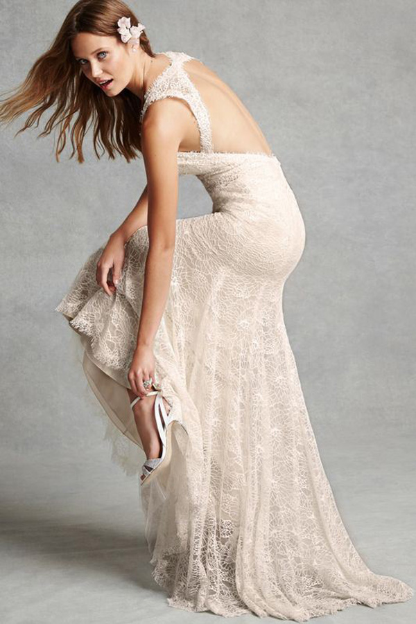 champagne backless wedding dress